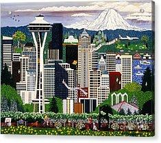 The Emerald City Seattle Acrylic Print by Jennifer Lake