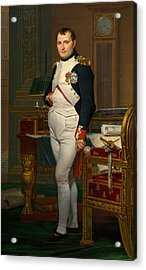 The Emperor Napoleon In His Study At The Tuileries Acrylic Print by Jacques Louis David