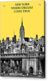 The Empire State Building Pantone Yellow Acrylic Print by John Farnan