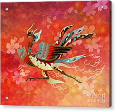 The Empress - Flight Of Phoenix - Red Version Acrylic Print by Bedros Awak