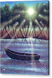 Acrylic Print featuring the digital art The Empty Boat by Cristophers Dream Artistry