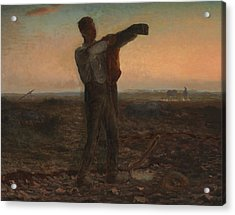 The End Of The Day Effect Of Evening  Acrylic Print by Jean-Francois Millet