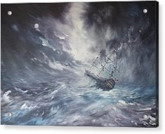 The Endeavour On Stormy Seas Acrylic Print