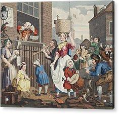 The Enraged Musician, Illustration Acrylic Print by William Hogarth
