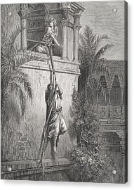 The Escape Of David Through The Window Acrylic Print by Gustave Dore