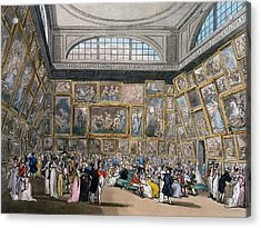 The Exhibition Room At Somerset House Acrylic Print by Pugin and Rowlandson