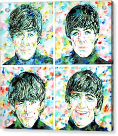 the FAB FOUR - watercolor portrait Acrylic Print by Fabrizio Cassetta