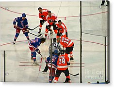 The Faceoff Acrylic Print by David Rucker