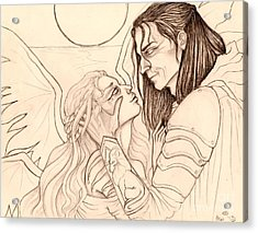 The Faery Maiden And The Knight Sketch Acrylic Print by Coriander  Shea
