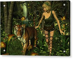 Acrylic Print featuring the digital art The Fairy And The Tiger by Jayne Wilson