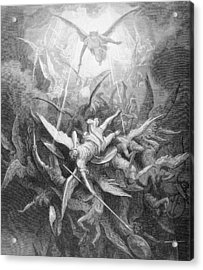 The Fall Of The Rebel Angels Acrylic Print by Gustave Dore