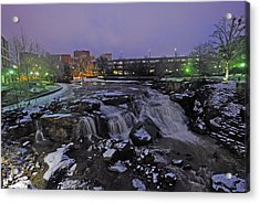 The Falls In Downtown Greenville Sc After A Light Snow Fall Acrylic Print by Willie Harper