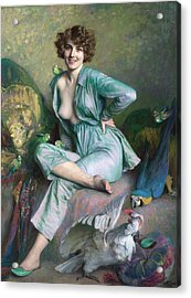 Acrylic Print featuring the painting The Familiar Birds by Emile Friant