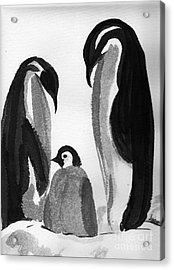 Happy Feet -the Family Of Penguins Acrylic Print