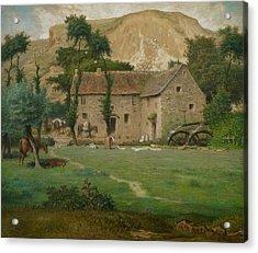 The Farm House Acrylic Print by Jean Francois Millet