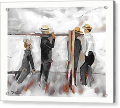 Acrylic Print featuring the painting The Fence Builders by Bob Salo