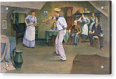 The Fencing Lesson Acrylic Print by Frederick James McNamara Evans
