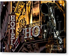 The Fiddler In The Hotel Acrylic Print by Mojo Mendiola