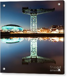The Finnieston Crane And Hydro Green Acrylic Print by John Farnan