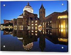 The First Church Of Christ At Twilight Acrylic Print by Juergen Roth