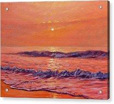 The First Day-sunrise On The Beach Acrylic Print by Bonnie Mason