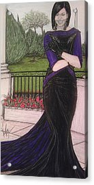 The First Lady Michelle Obama In Victoria Renee's Fashion Acrylic Print by Vicki  Jones