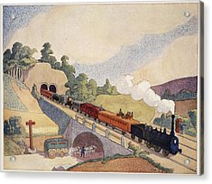The First Paris To Rouen Railway, Copy Acrylic Print by French School