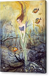 Acrylic Print featuring the painting The Fish Are Biting by Katherine Miller