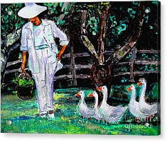 Acrylic Print featuring the painting The Five Ducks by Helena Bebirian