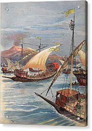 The Fleet Of Doria, Naples Acrylic Print by Albert Robida