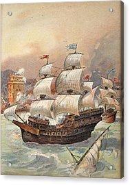 The Fleet Of Jean Ango Blocks The Tagus Acrylic Print by Albert Robida