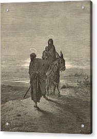 The Flight Into Egypt Acrylic Print by Antique Engravings