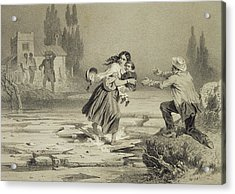 The Flight Of Eliza, Plate 3 From Uncle Acrylic Print by Adolphe Jean-Baptiste Bayot