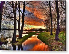 The Flooded Sunset Path Acrylic Print by Kim Shatwell-Irishphotographer