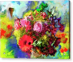 Acrylic Print featuring the painting The Florist by Ted Azriel