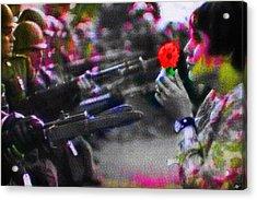 The Flower And The Bayonet Dot Pattern Red Acrylic Print by Tony Rubino