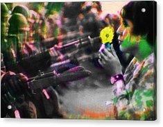 The Flower And The Bayonet Yellow Acrylic Print by Tony Rubino