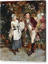 The Flower Girl Acrylic Print by Henry Gillar Glindoni