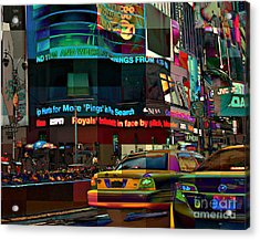 The Fluidity Of Light - Times Square Acrylic Print