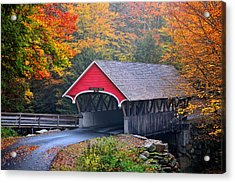 The Flume Covered Bridge Acrylic Print by Thomas Schoeller