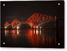 The Forth Bridge By Night Acrylic Print by Ross G Strachan