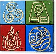 The Four Elements In Cy Lantyca Acrylic Print by Cyryn Fyrcyd