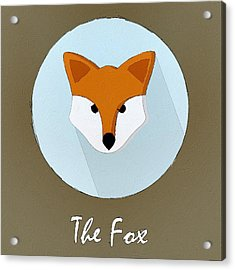 The Fox Cute Portrait Acrylic Print by Florian Rodarte
