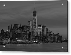 The Freedom Tower Dominates The Skyline Bw Acrylic Print by Susan Candelario