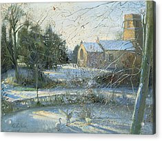 The Frozen Moat, Bedfield  Acrylic Print by Timothy Easton