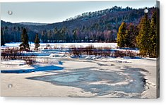 The Frozen Moose River II - Old Forge New York Acrylic Print by David Patterson
