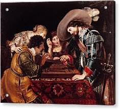 The Game Of Backgammon Oil On Canvas Acrylic Print by Cornelis de Vos