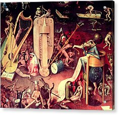 The Garden Of Earthly Delights Hell, Detail From The Right Wing Of The Triptych, C.1500 Oil Acrylic Print by Hieronymus Bosch