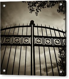 Acrylic Print featuring the photograph The Gate In Sepia by Steven Milner