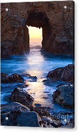The Gateway - Sunset On Arch Rock In Pfeiffer Beach Big Sur In California. Acrylic Print